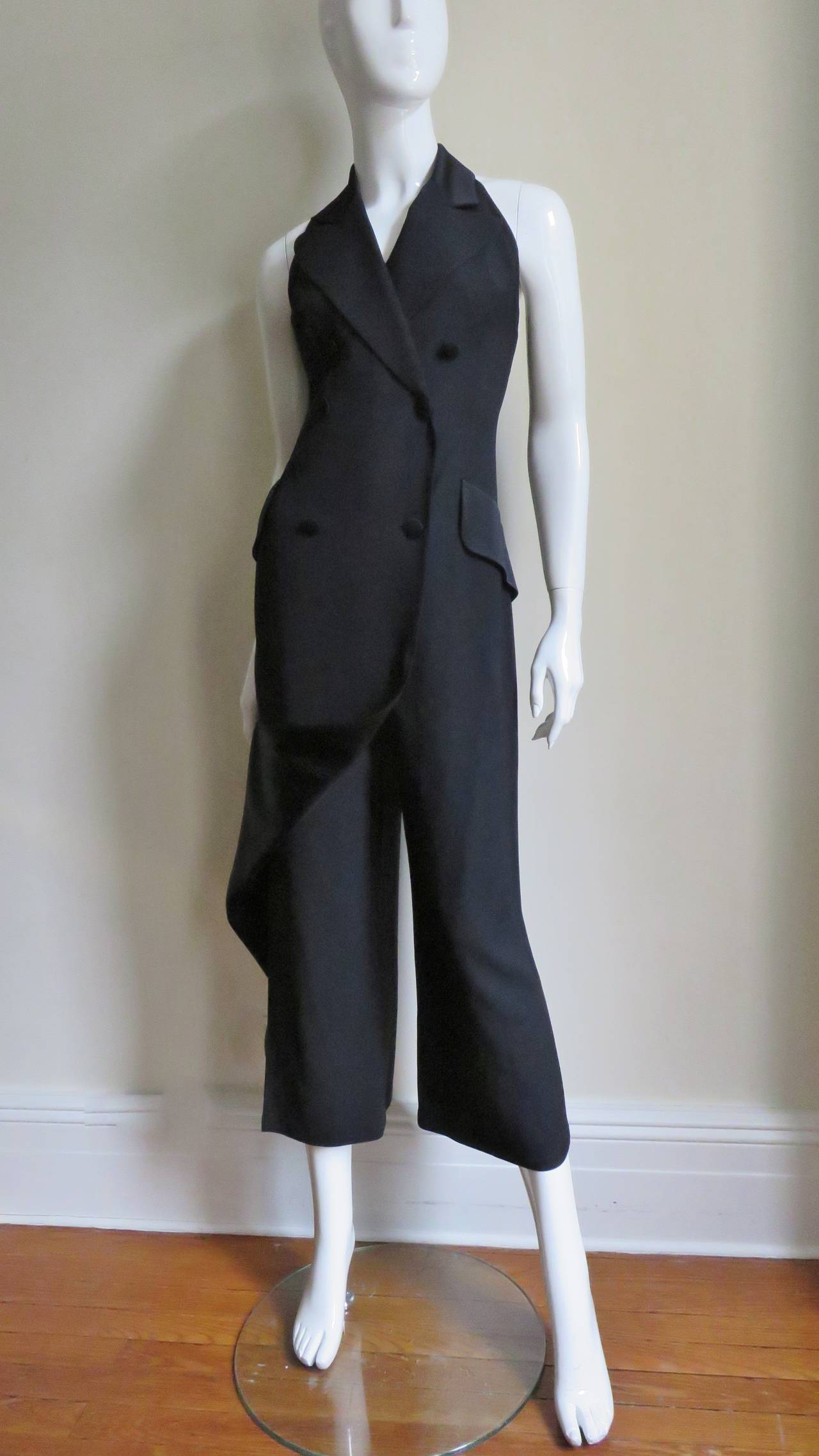 1990s Moschino Halter Tux Jumpsuit  For Sale 1