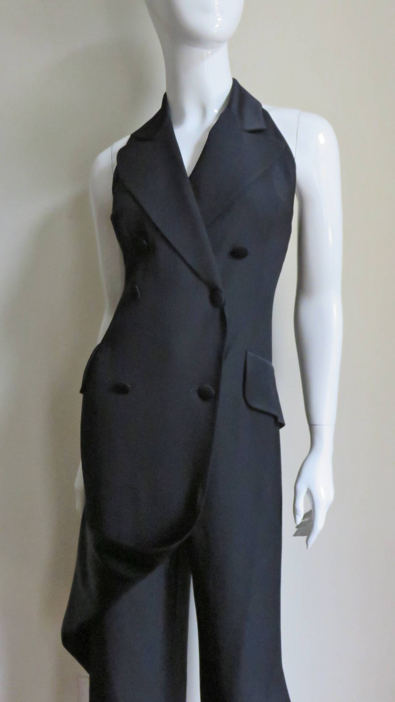 Women's 1990s Moschino Halter Tux Jumpsuit  For Sale
