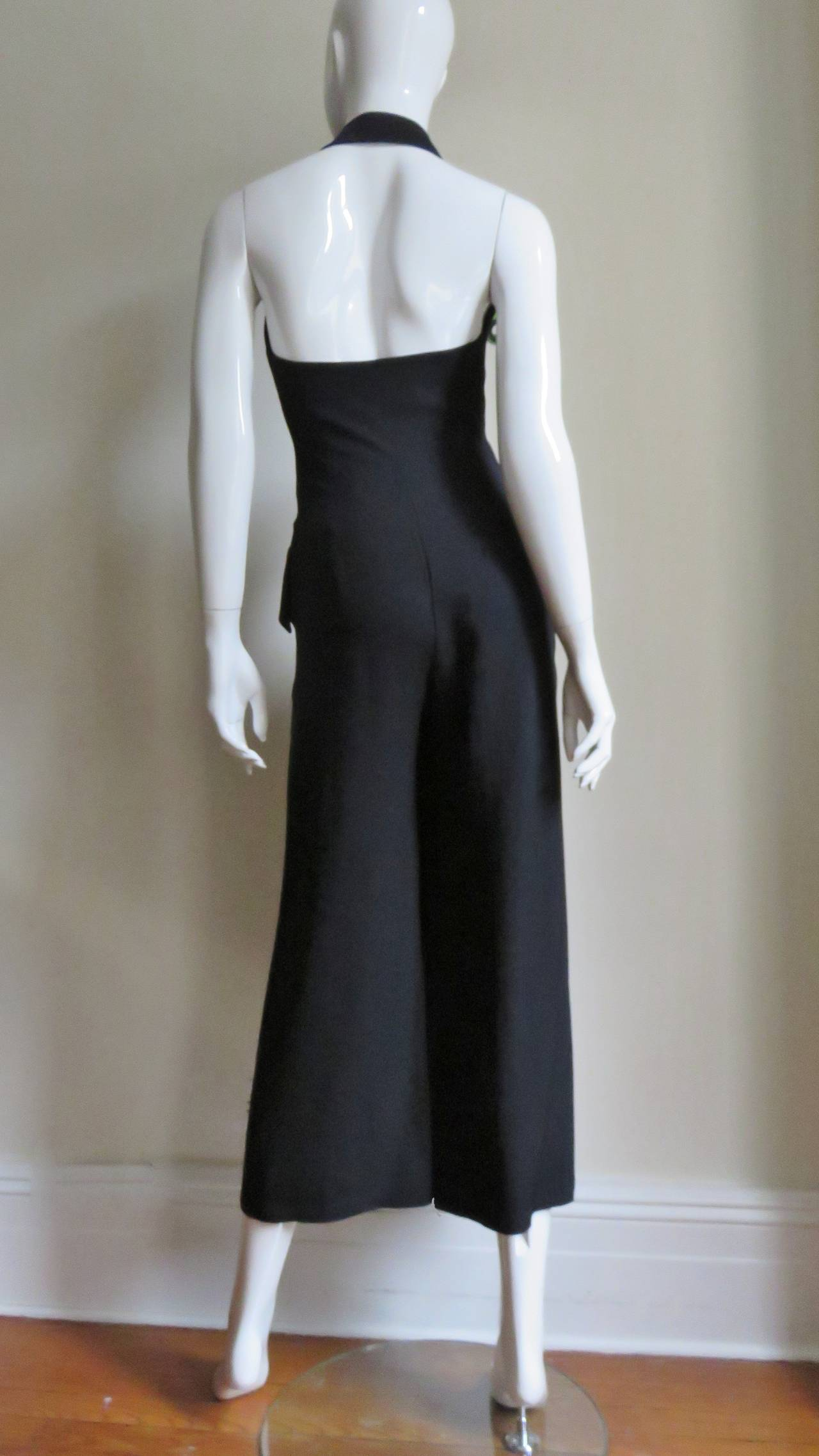 1990s Moschino Halter Tux Jumpsuit  For Sale 4