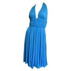 Versace Silk Jersey Plunge Halter Dress
