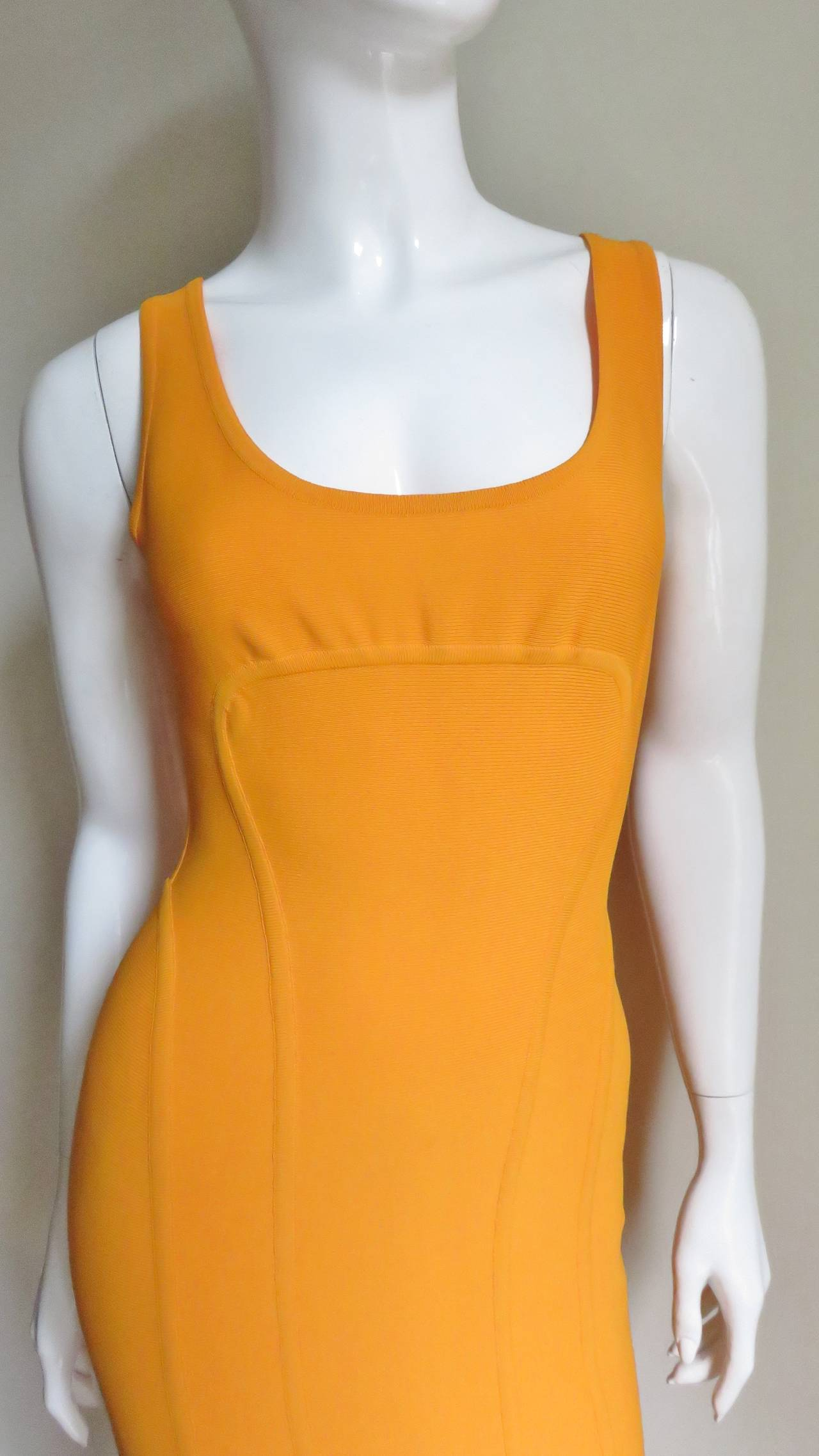 Orange Vintage Herve Leger Bodycon Dress For Sale