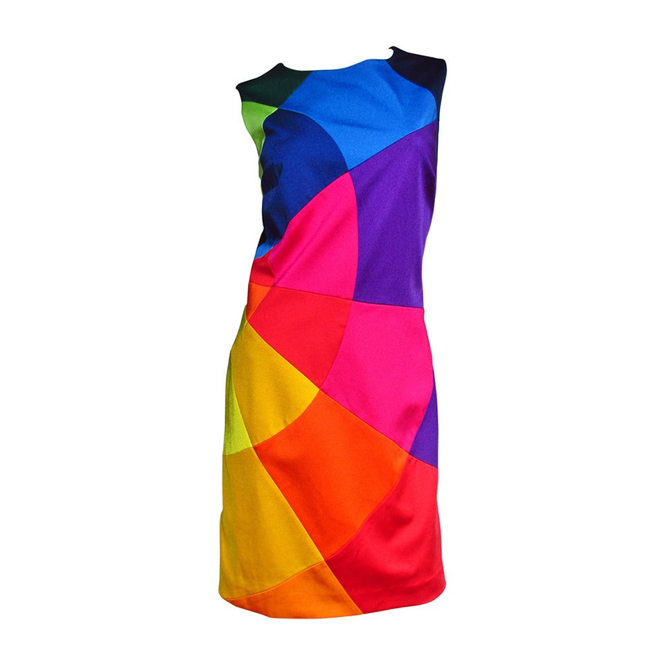1990s Moschino Rainbow Color Block Dress 1