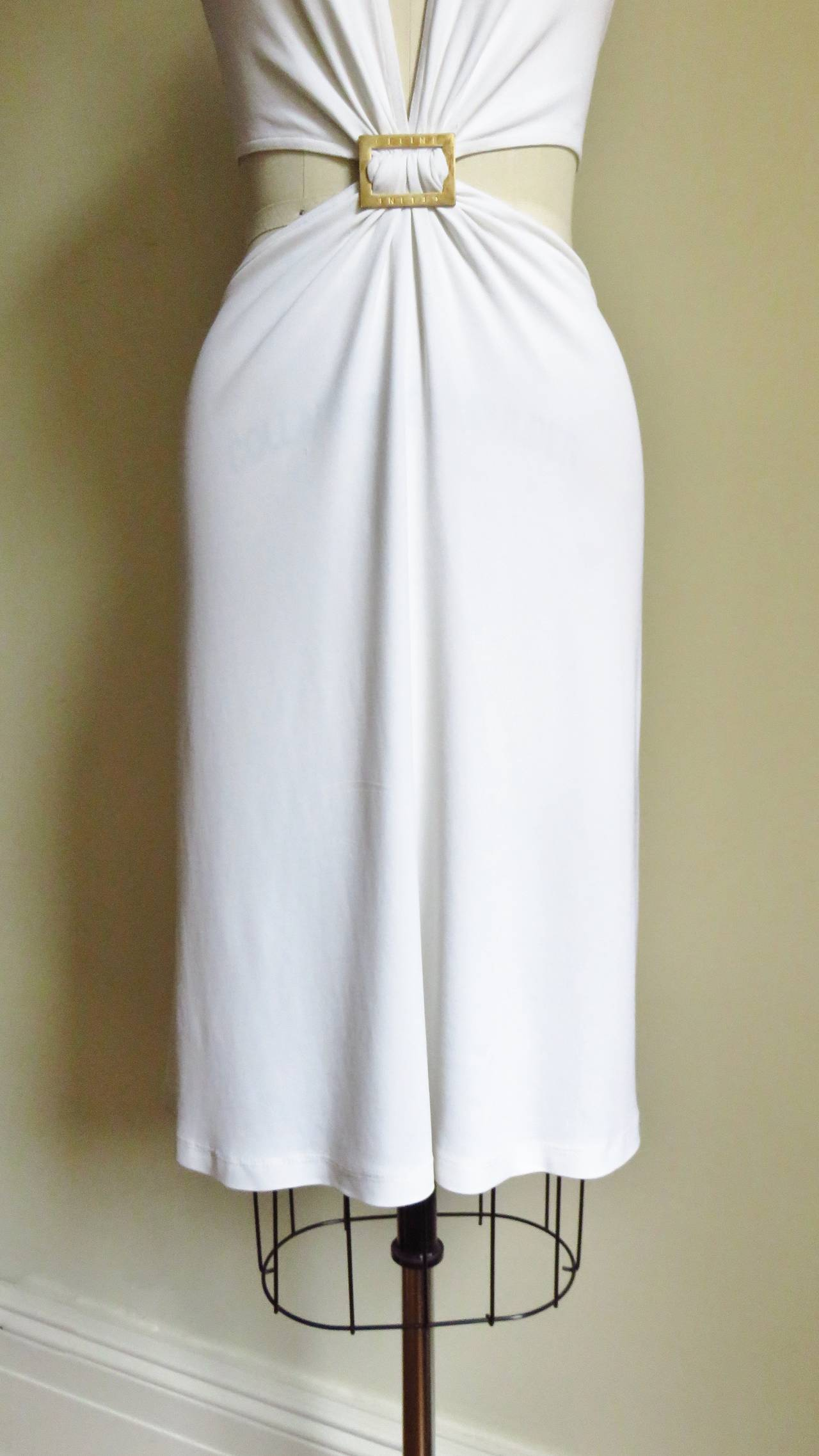 Celine Cutout Deep Plunge Halter Dress For Sale 1