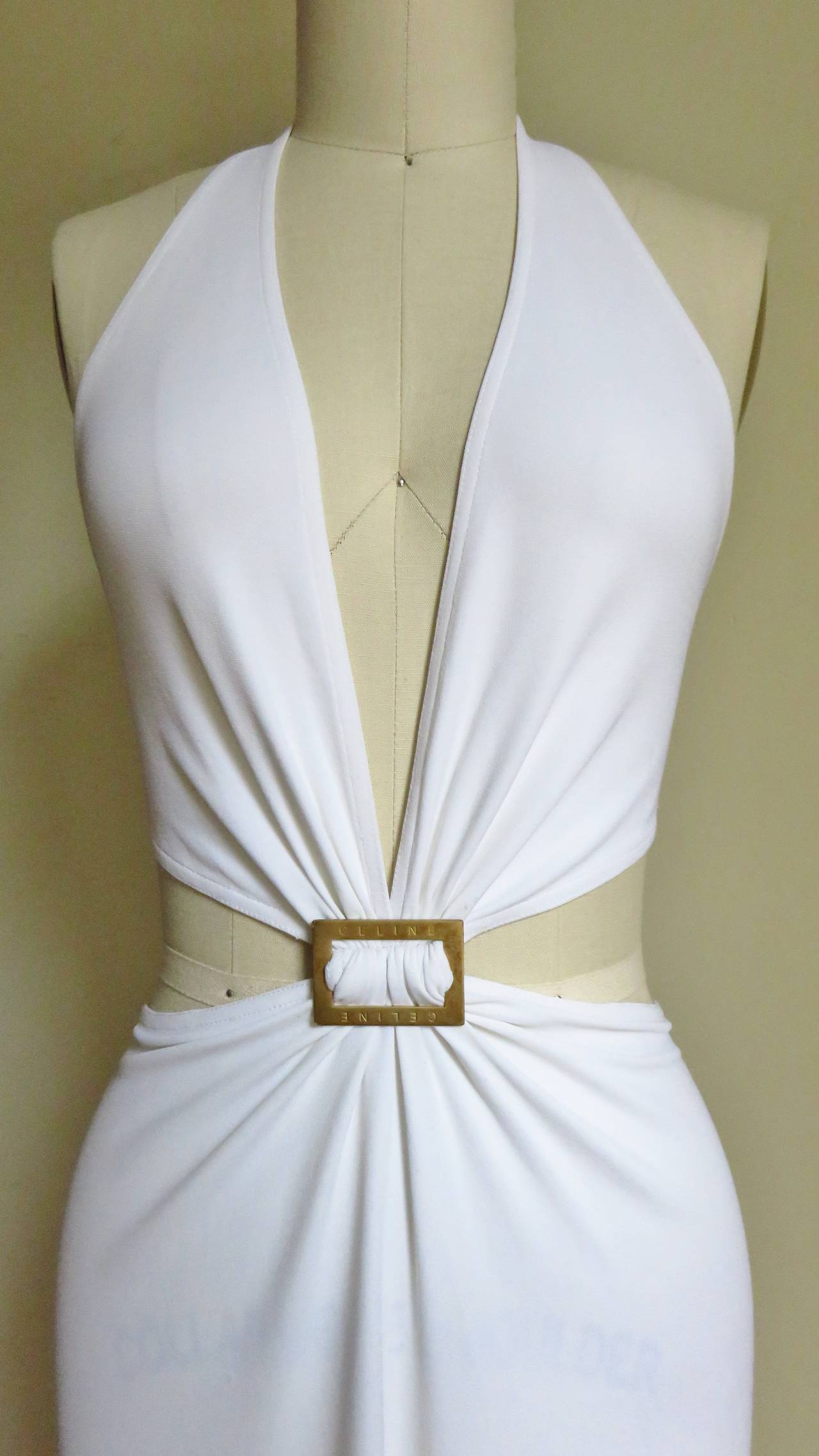 Celine Cutout Deep Plunge Halter Dress In Excellent Condition For Sale In New York, NY