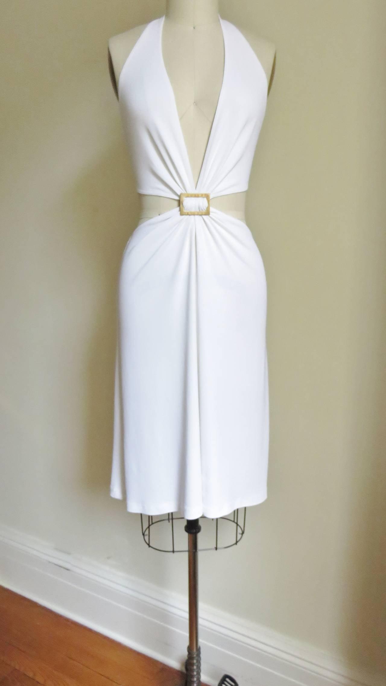 Celine Cutout Deep Plunge Halter Dress For Sale 2