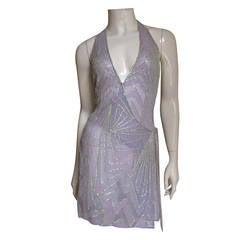 Stunning Gianni Versace Silk Beaded Plunge Wrap Halter Dress
