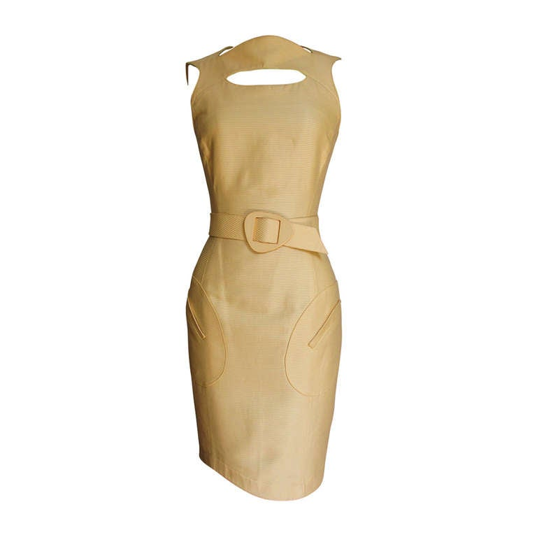 1990s Thierry Mugler Asymmetical Cutout Belted Dress For Sale
