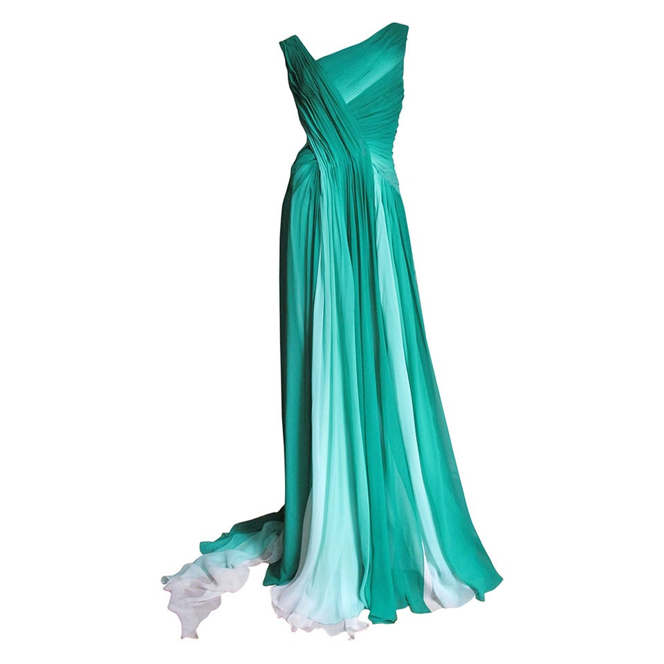 Monique L'huillier Emerald Silk Ombre Gown With Train For Sale
