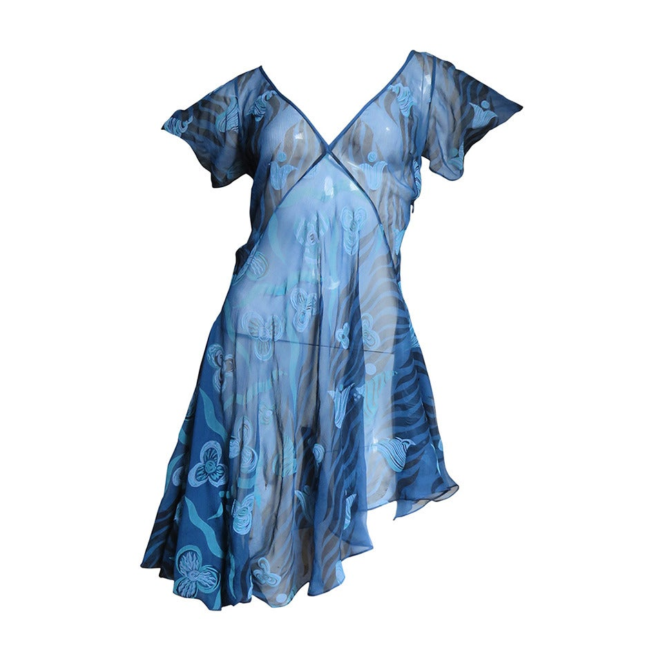1990s Zandra Rhodes Asymmetric Silk Screen Print Dress For Sale