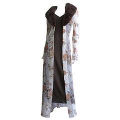 Dolce & Gabbana Dress & Sheer Silk Mink Collar Coat