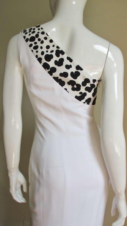 Versace Animal Print Trim One Shoulder Dress For Sale 1