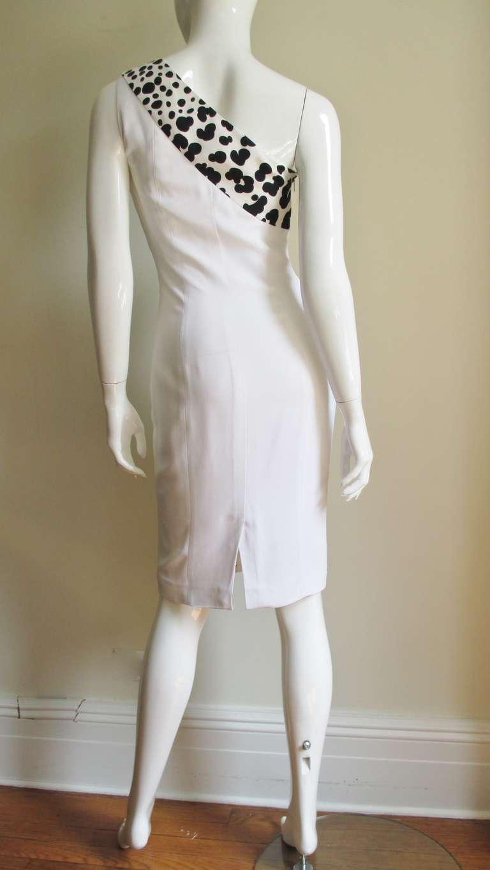 Versace Animal Print Trim One Shoulder Dress For Sale 3