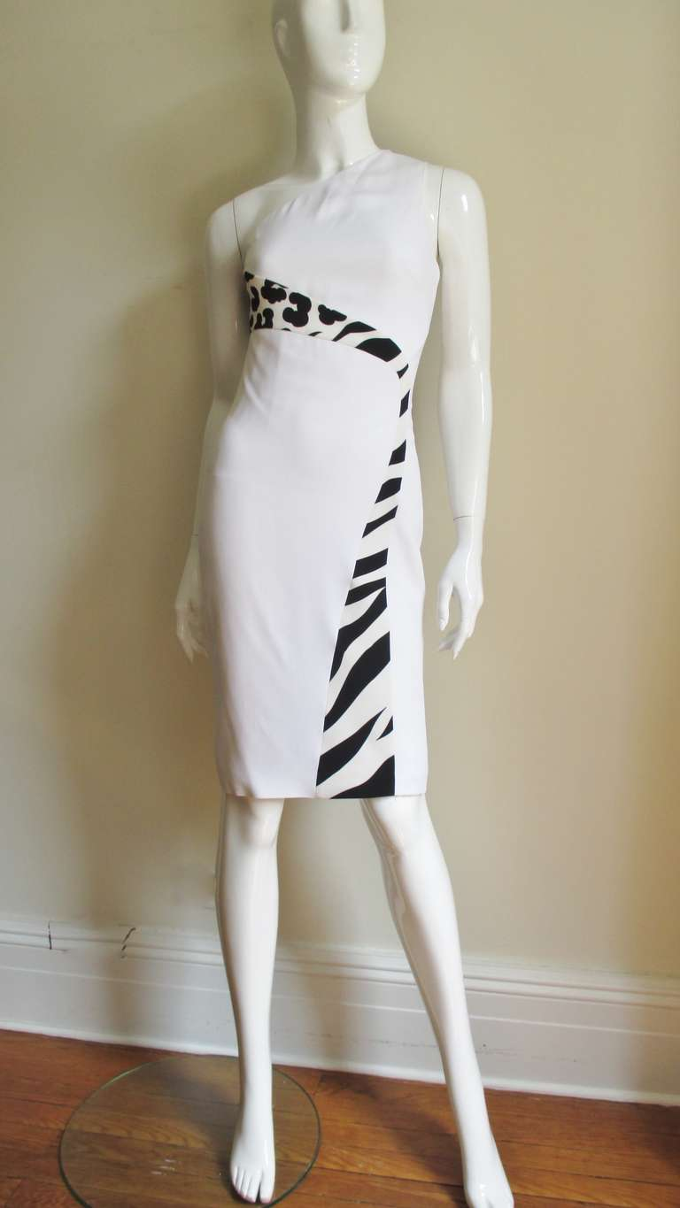 Versace Color Block One Shoulder Dress In Good Condition For Sale In New York, NY