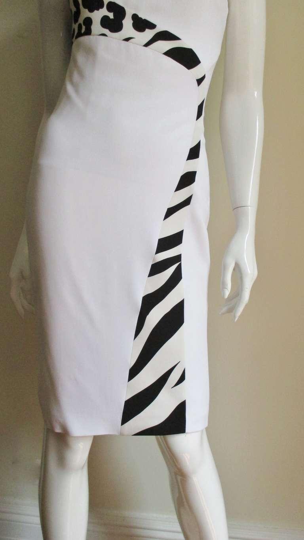 Gray Versace Animal Print Trim One Shoulder Dress For Sale