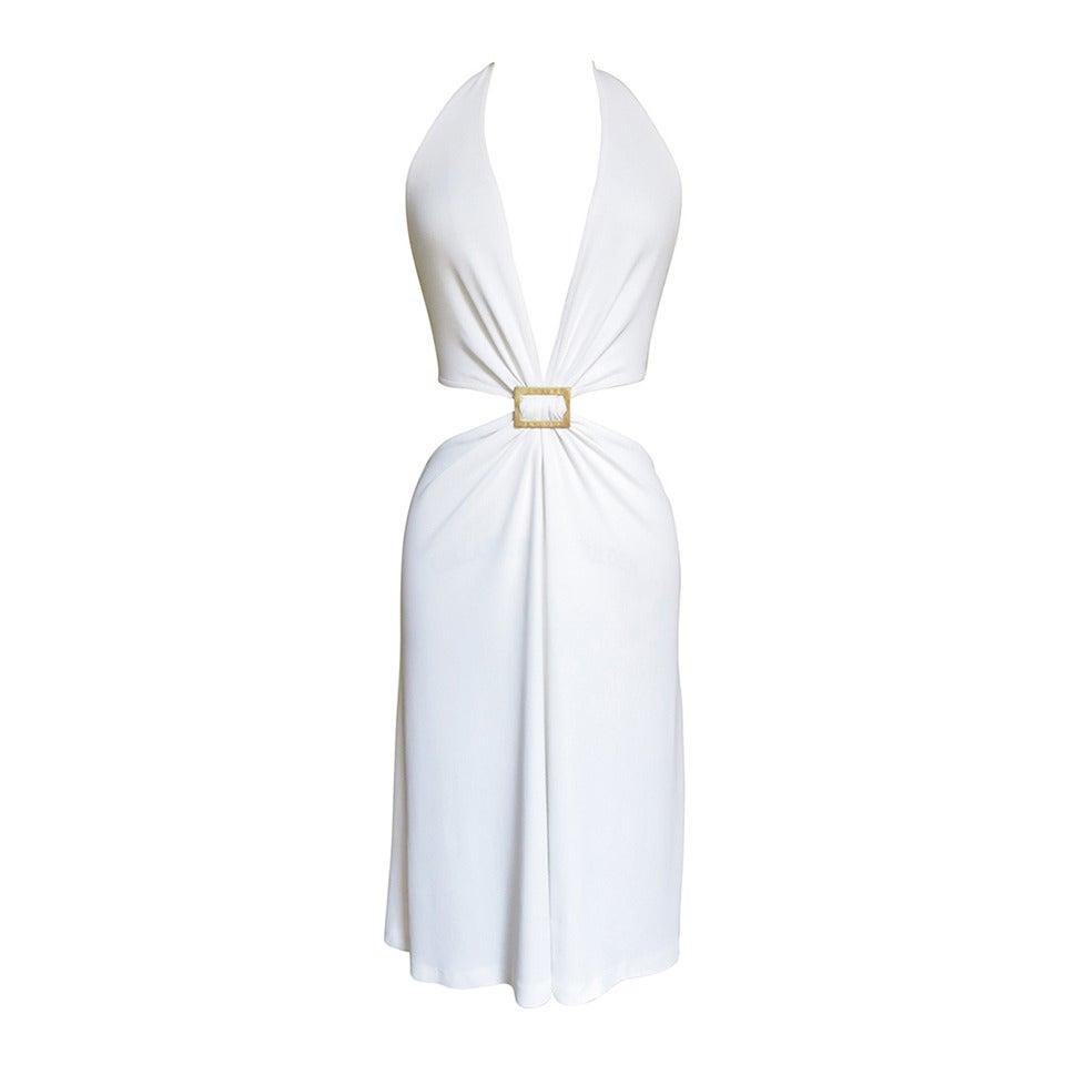 Celine Cutout Deep Plunge Halter Dress For Sale
