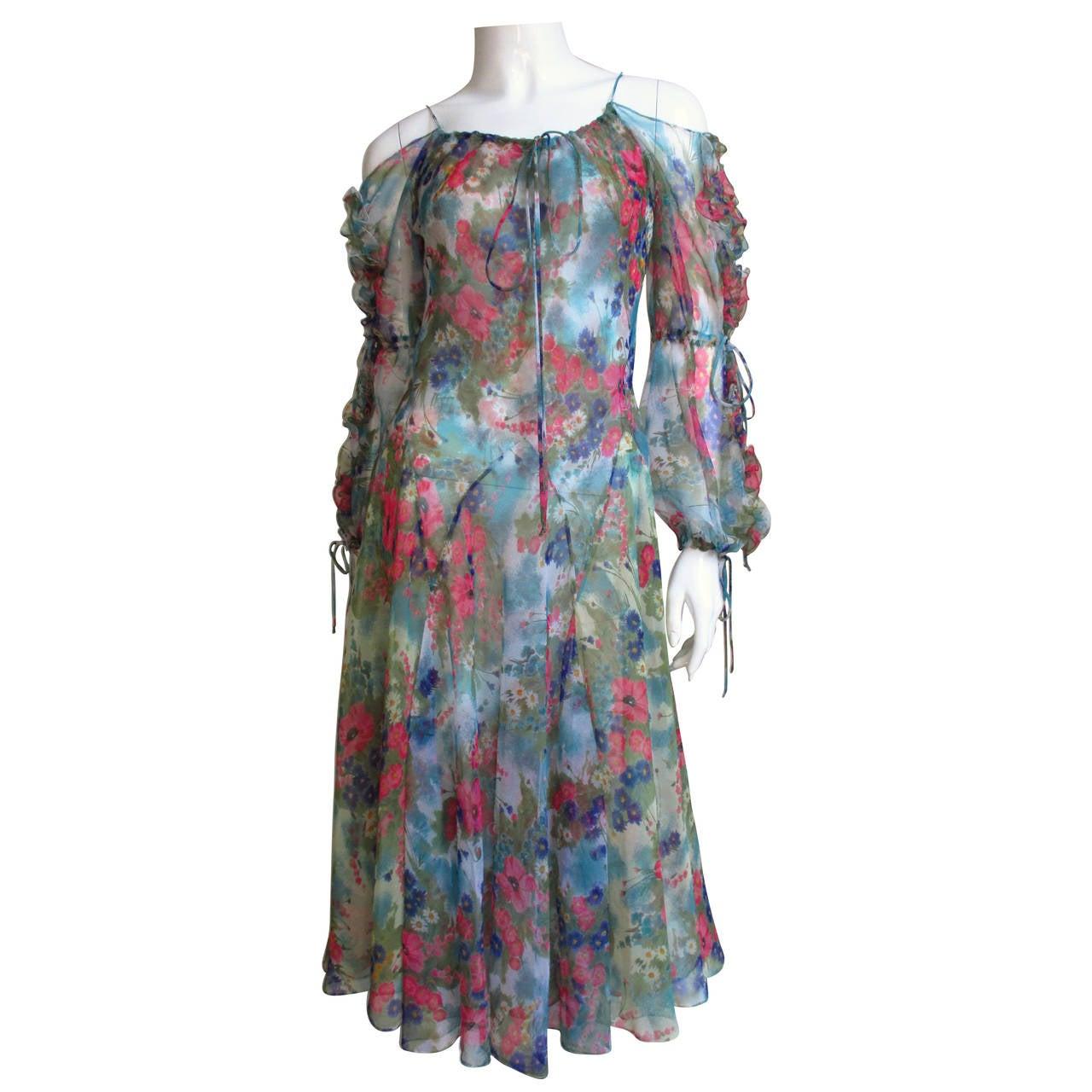 1970s Giorgio Sant'Angelo Cold Shoulder Dress
