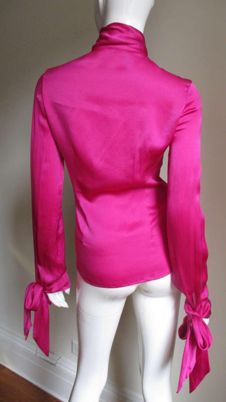 Gianni Versace Magenta Silk Tie Neck & Cuffs Shirt 6