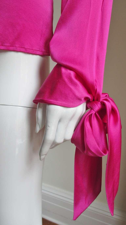 Gianni Versace Magenta Silk Tie Neck & Cuffs Shirt 5