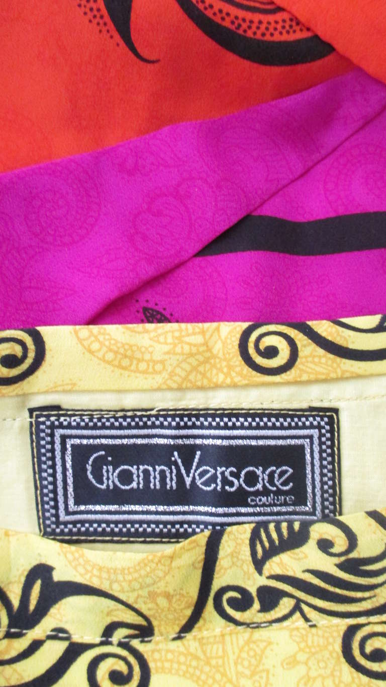 Beige 1990s Gianni Versace Origami Color Block Skirt For Sale