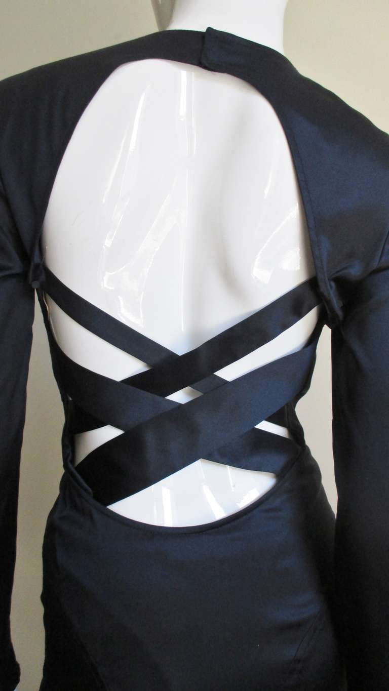 Versace Navy Silk Dress with Cut Out Back 1990s For Sale 6