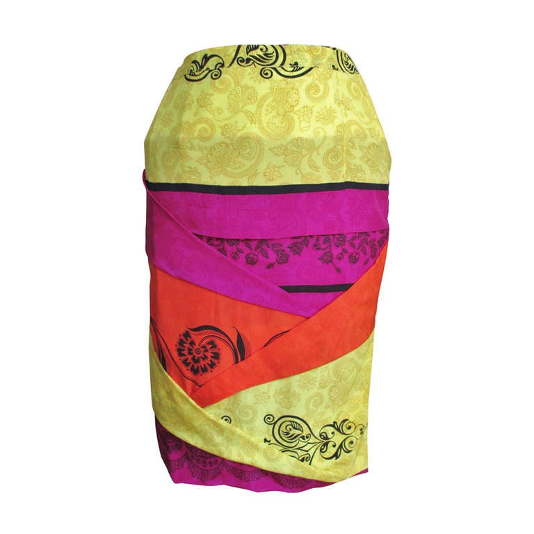 1990s Gianni Versace Origami Color Block Skirt For Sale