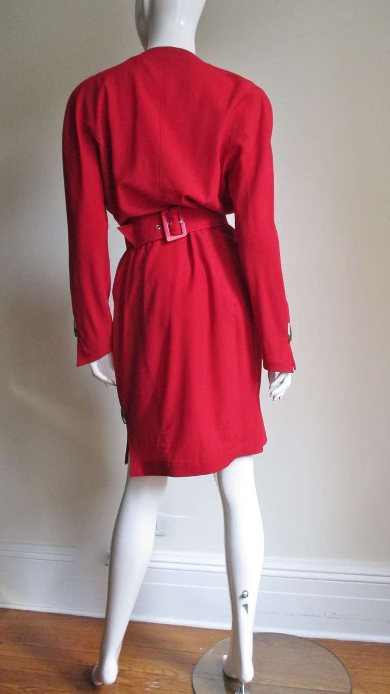 1980s Thierry Mugler Dress With Hardware For Sale 3