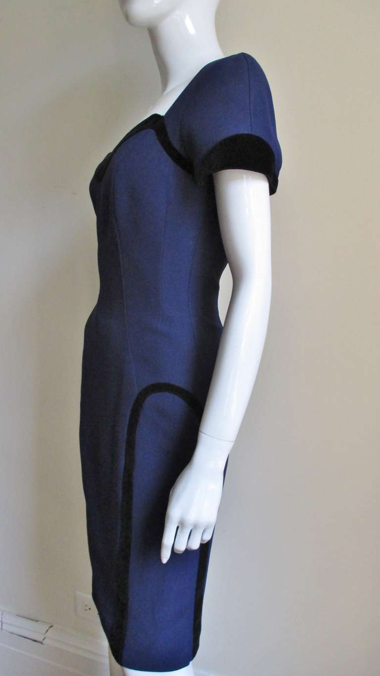 1990s Thierry Mugler Color Block Dress 5