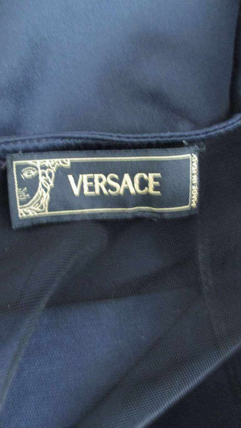 Versace Navy Silk Dress with Cut Out Back 1990s For Sale 8