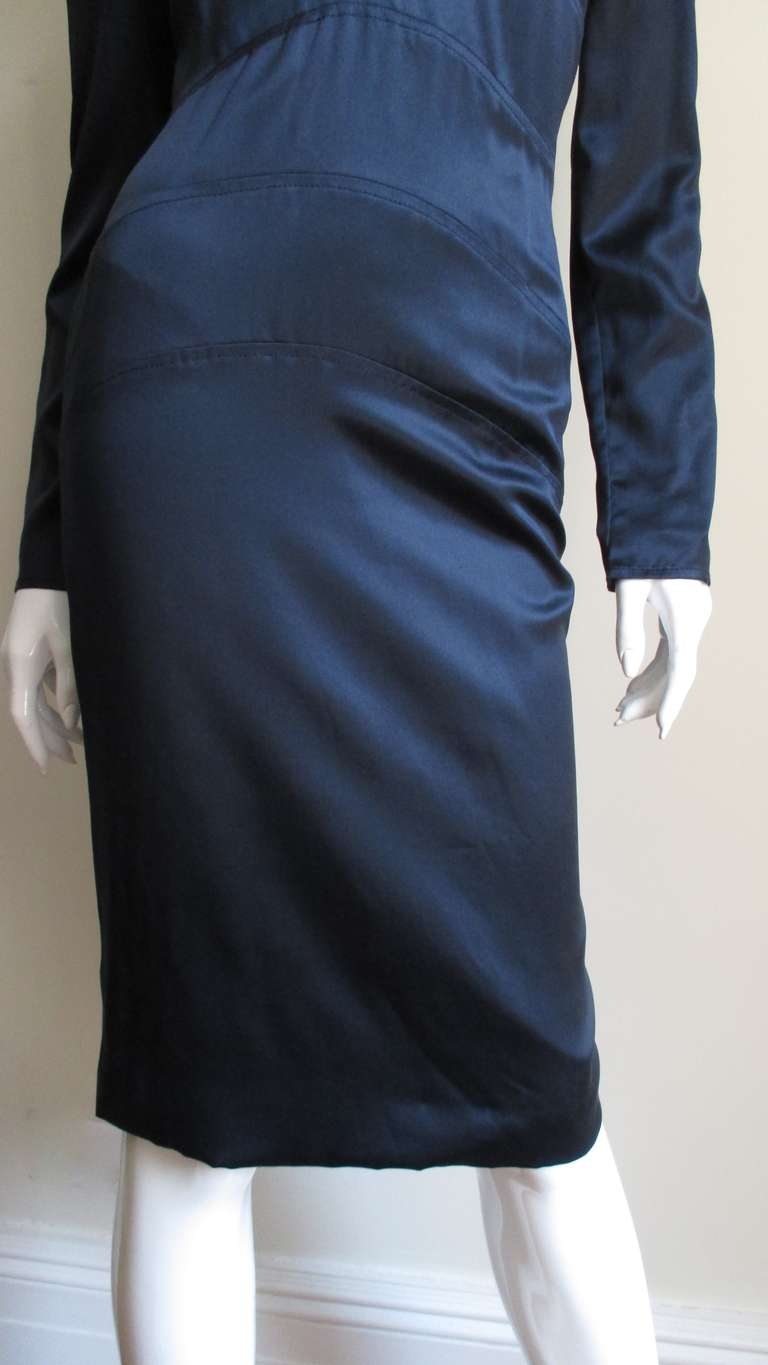 Versace Navy Silk Dress with Cut Out Back 1990s For Sale 1