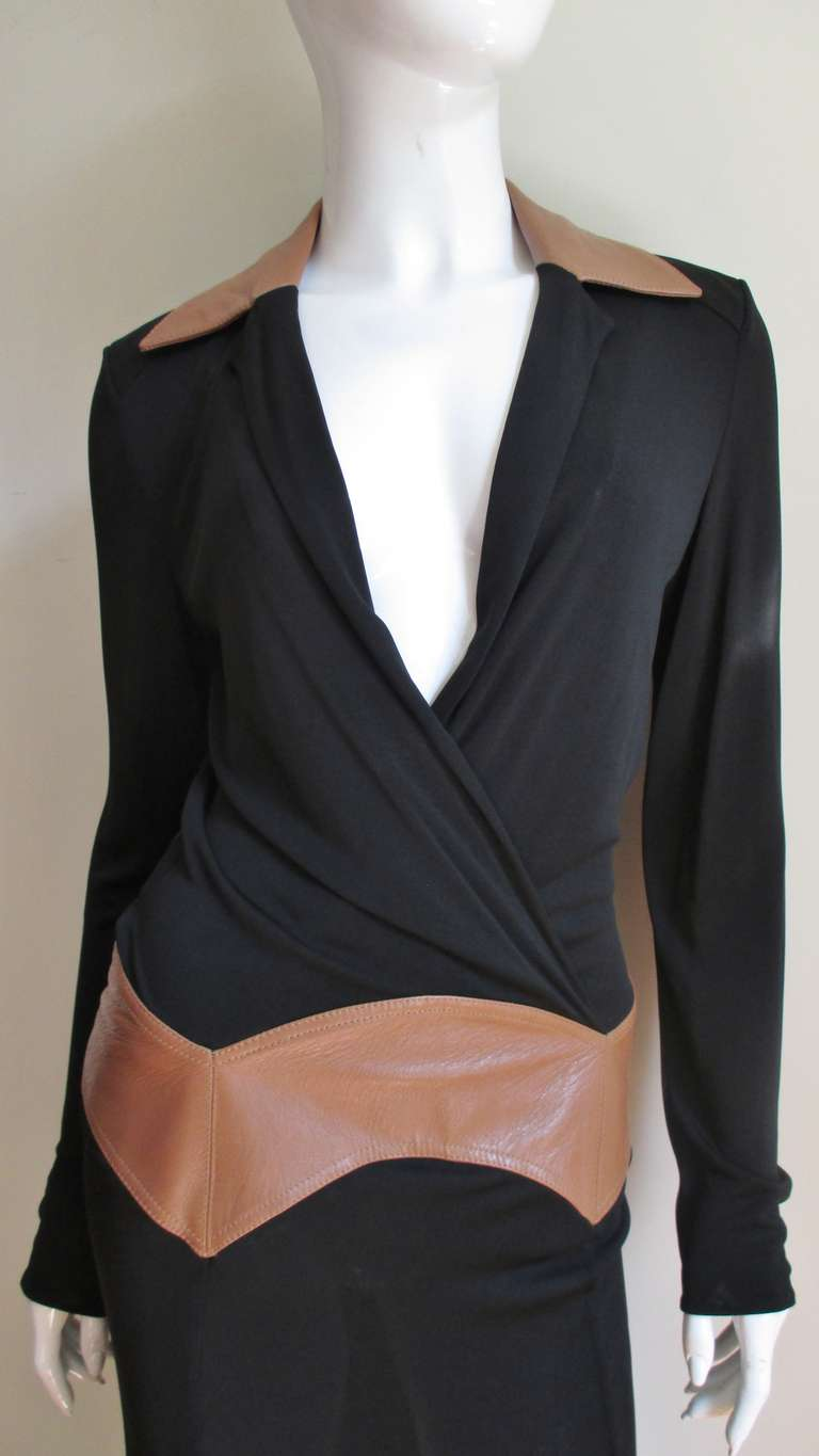 Women's  Gianni Versace Couture Dress with Leather Trim 1990s For Sale