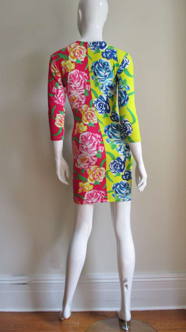 1990s Gianni Versace Multi Patterned Dress For Sale 4