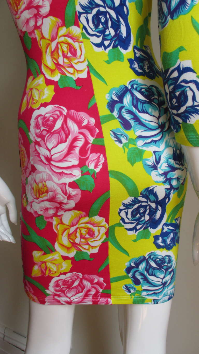 1990s Gianni Versace Multi Patterned Dress For Sale 3