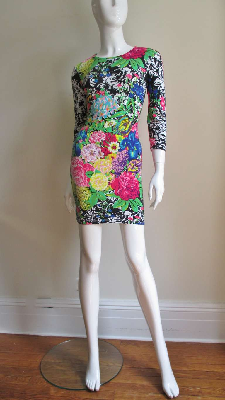 1990s Gianni Versace Multi Patterned Dress For Sale 2