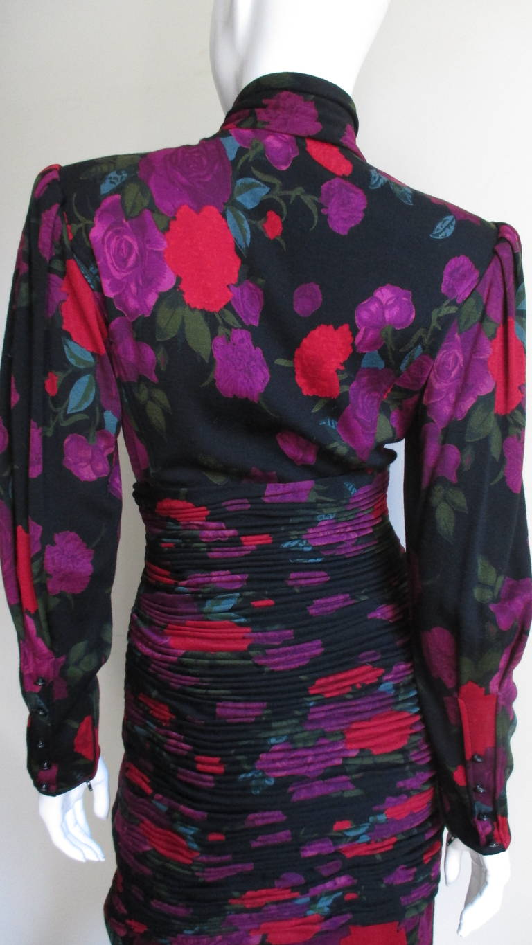 1990s Ungaro Bodycon Dress with Ruching For Sale 2