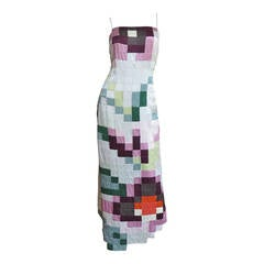 1990s Moschino Pixilated Patchwork Maxi Slip Dress