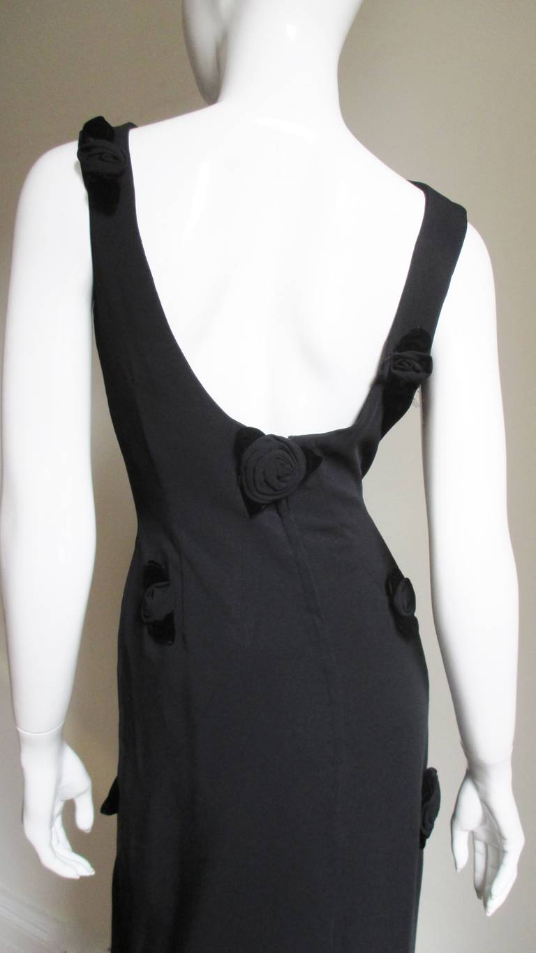 1960's Estevez Gown Covered with Black Roses For Sale 3