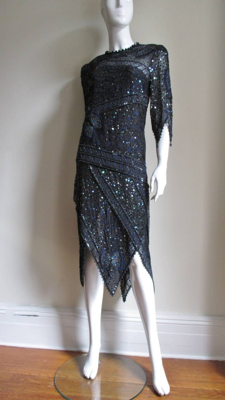 Women's 1970s Exquisite Zandra Rhodes Beaded Silk Dress  For Sale