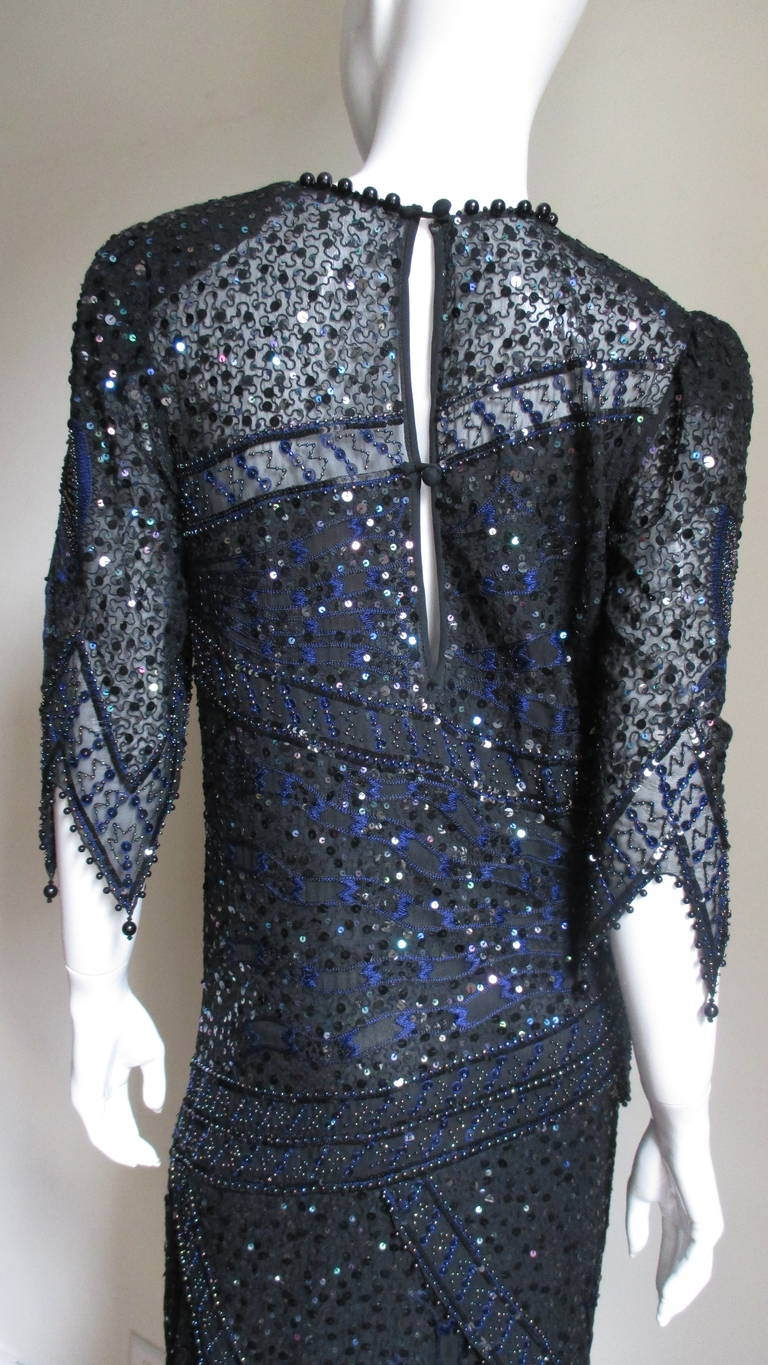 1970s Exquisite Zandra Rhodes Beaded Silk Dress  For Sale 2
