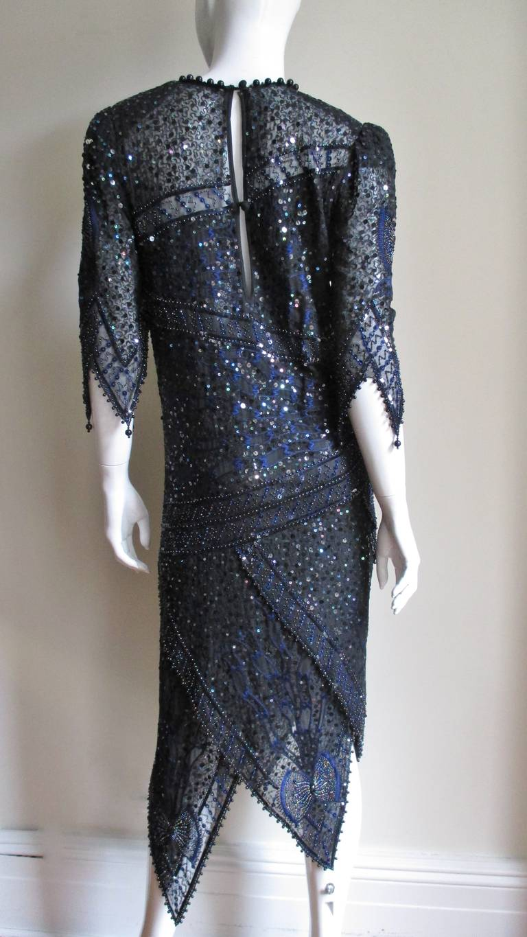 1970s Exquisite Zandra Rhodes Beaded Silk Dress  For Sale 1
