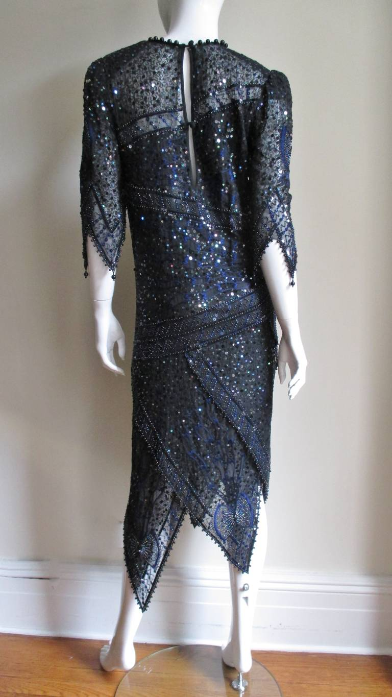 1970s Exquisite Zandra Rhodes Beaded Silk Dress  For Sale 4
