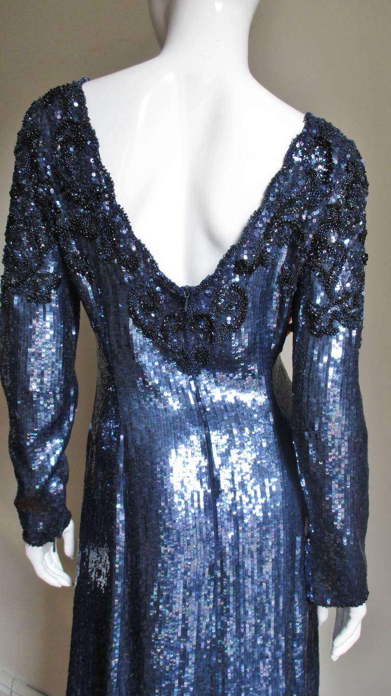 1980s Louis Feraud Vintage Exquisitely Beaded Gown For Sale 2