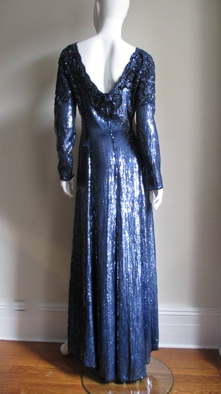 1980s Louis Feraud Vintage Exquisitely Beaded Gown For Sale 4
