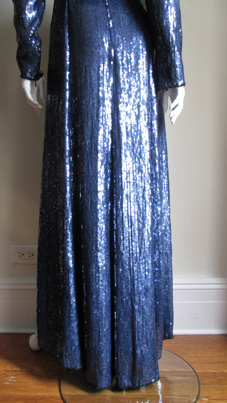 1980s Louis Feraud Vintage Exquisitely Beaded Gown For Sale 3