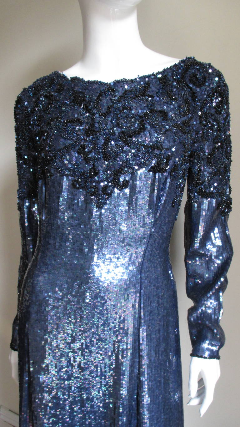Purple 1980s Louis Feraud Vintage Exquisitely Beaded Gown For Sale