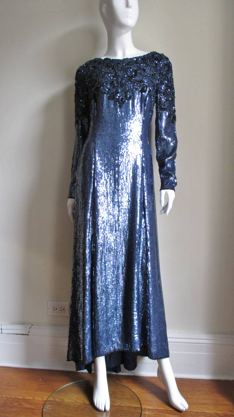 1980s Louis Feraud Vintage Exquisitely Beaded Gown For Sale 1
