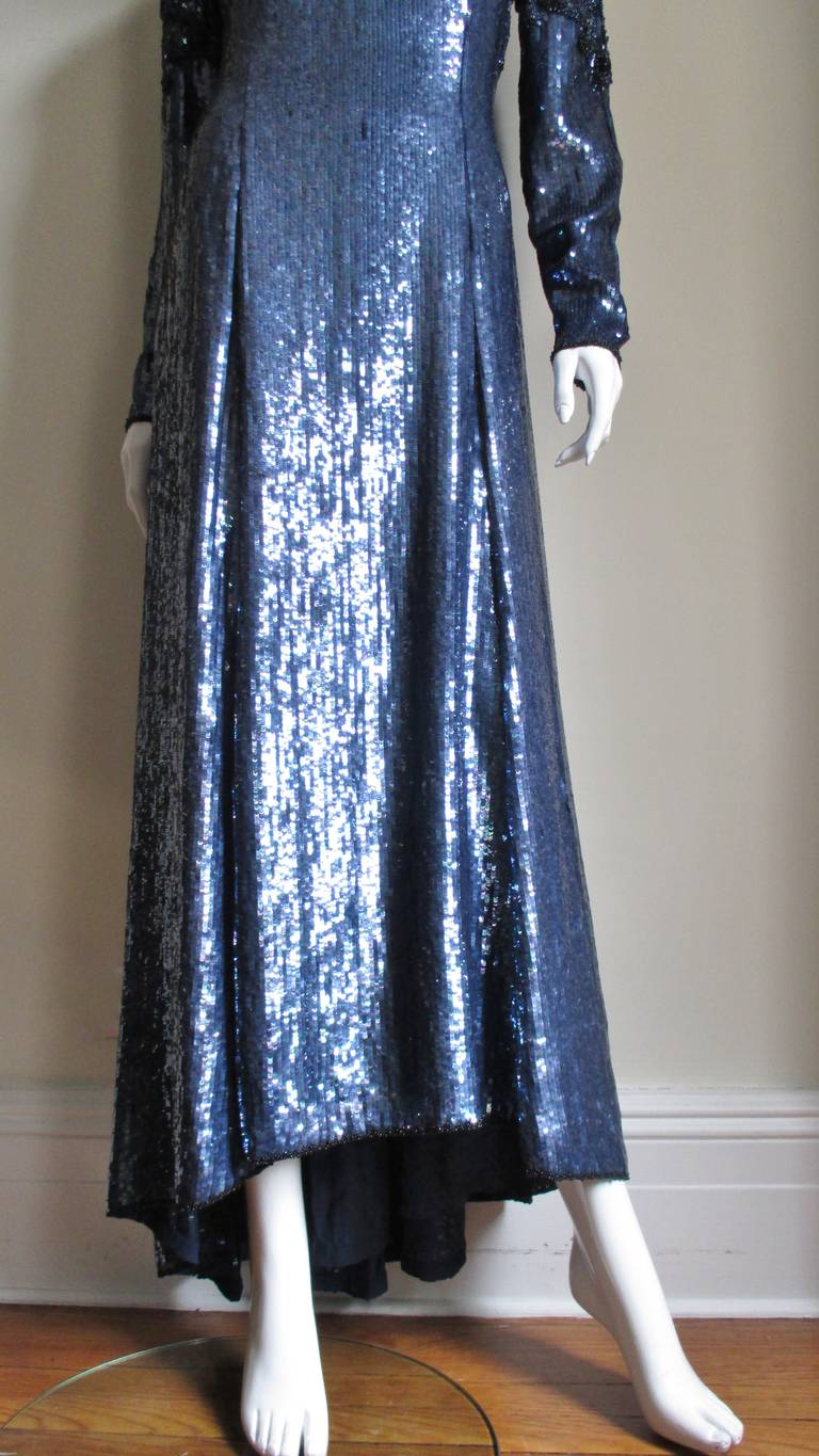 Women's 1980s Louis Feraud Vintage Exquisitely Beaded Gown For Sale