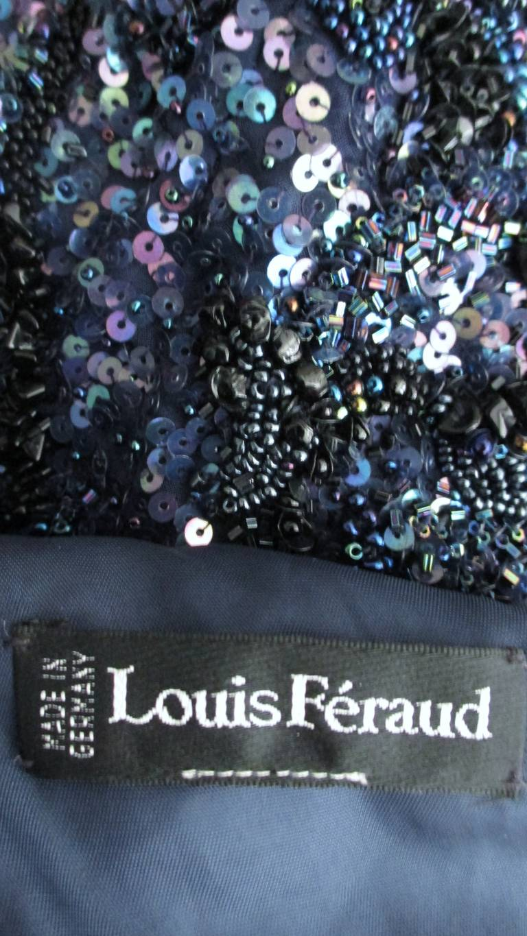 1980s Louis Feraud Vintage Exquisitely Beaded Gown For Sale 5