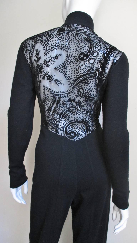 Black 1990s Byblos Lace Back Catsuit For Sale