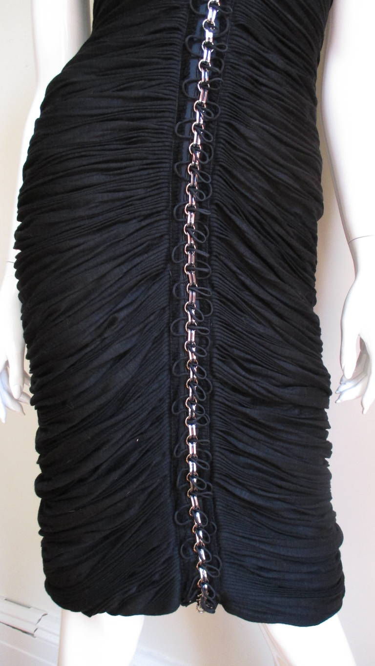 8ad3e745f4 Anne Klein Ruched Chain Trimmed Dress For Sale at 1stdibs
