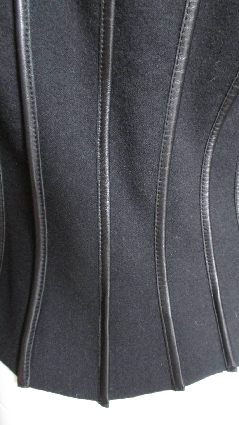 Moschino Wool Jacket with Leather Piping For Sale 12